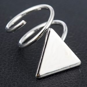 Triangle Spiral Ear Stud- silver